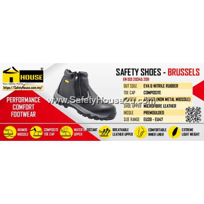 HOUSE BRUSSELS SAFETY SHOES C/W COMPOSITE TOE CAP & ARAMID MID SOLE