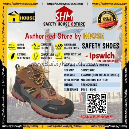 HOUSE SAFETY SHOES - IPSWICH C/W COMPOSITE TOE CAP & ARAMID MID SOLE