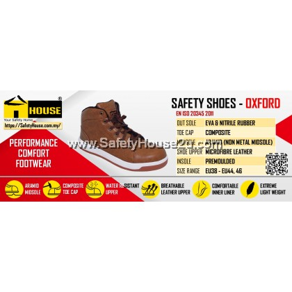 HOUSE OXFORD SAFETY SHOES C/W COMPOSITE TOE CAP & ARAMID MID SOLE
